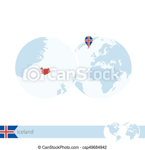 Iceland on world globe with flag and regional map of eps vector iceland on world globe with flag and regional map of iceland csp49684942 gumiabroncs