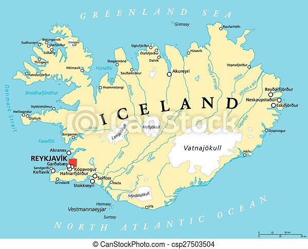 Iceland political map with capital reykjavik national borders iceland political map with capital reykjavik national borders important cities rivers lakes and glaciers english labeling and scaling illustration gumiabroncs Images