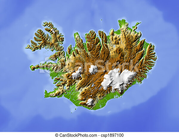 Topographic Map Of Iceland.Iceland Shaded Relief Map Colored According To Elevation For The
