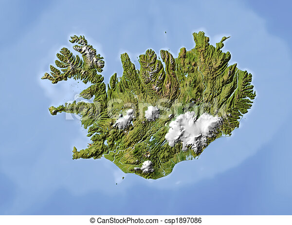 Iceland, shaded relief map. - csp1897086