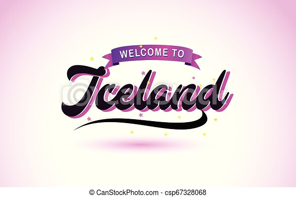Iceland Welcome to Creative Text Handwritten Font with Purple Pink Colors Design. - csp67328068
