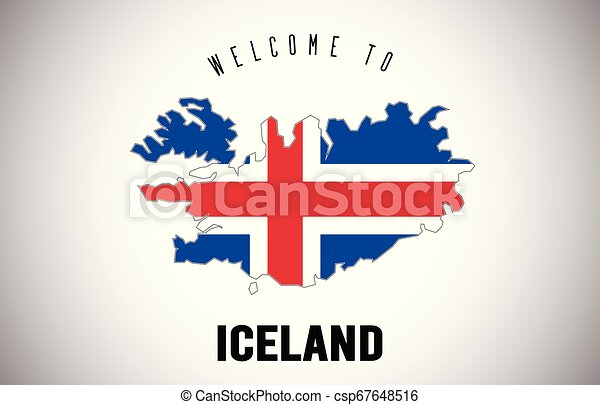 Iceland Welcome to Text and Country flag inside Country border Map Vector Design. - csp67648516