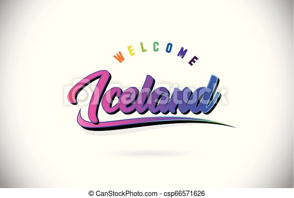 Iceland Welcome To Word Text with Creative Purple Pink Handwritten Font and Swoosh Shape Design Vector. - csp66571626