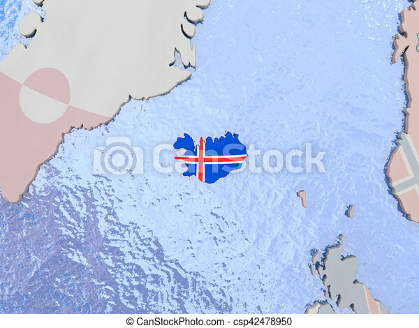 Iceland with flag on globe map of iceland with national stock iceland with flag on globe csp42478950 gumiabroncs Choice Image