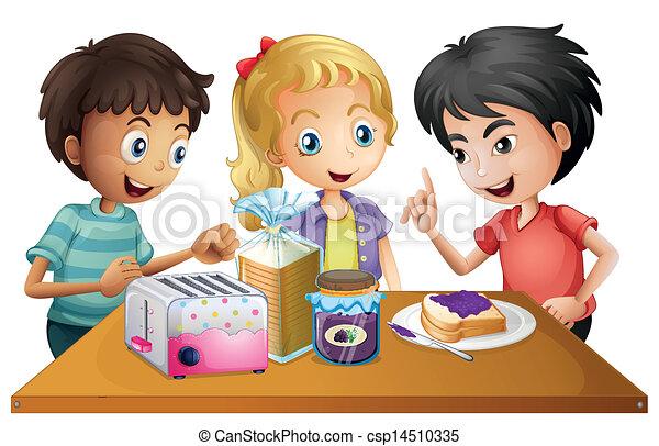 ich, dzieciaki, przygotowując, udziały - csp14510335
