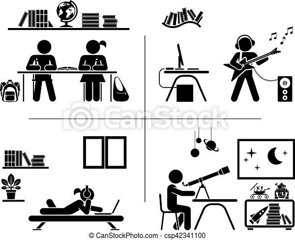 ich, spędzając, set., piktogram, room., czas, dzieci, ikona - csp42341100