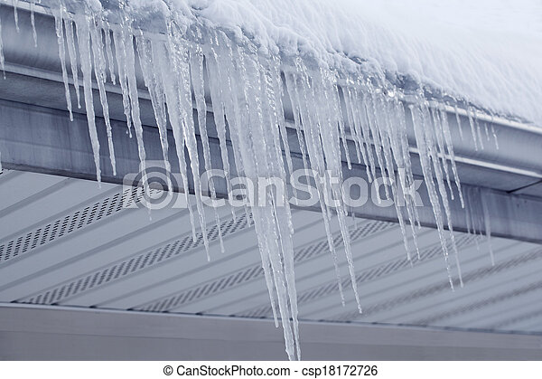 Icicles from Gutter - csp18172726