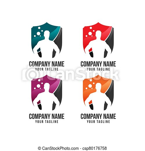 icon., 保护, 重量, 旗帜, 徽章, 体育馆, 盾, 侧面影象, 肌肉, 保护, logo., 卫兵, bodybuilder, 钢铁, 图标, 人, concept., 安全, 健身, 背景, 举起 - csp80176758
