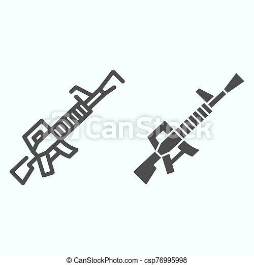 icon., aislado, white., tela, arma, contorno, diseñado, 10., glyph, eps, automático, vector, arma de fuego, ilustración, rifle de asalto, diseño, app., estilo, línea, máquina - csp76995998