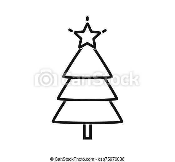 icon., arbre noël, contour, étoile - csp75976036