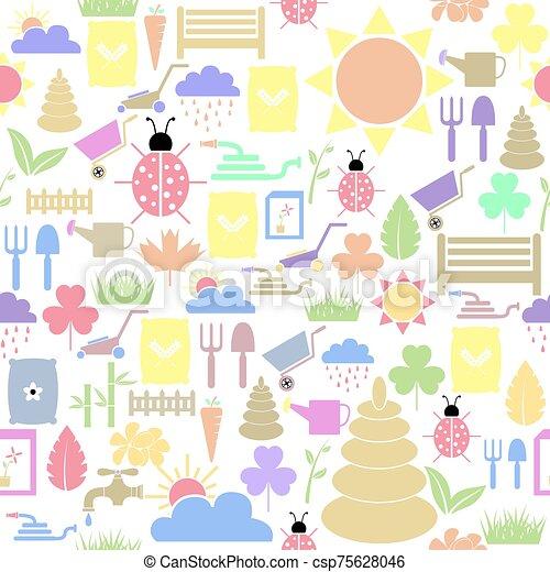 icon., bakgrund, seamless, mönster, gräsmatta - csp75628046