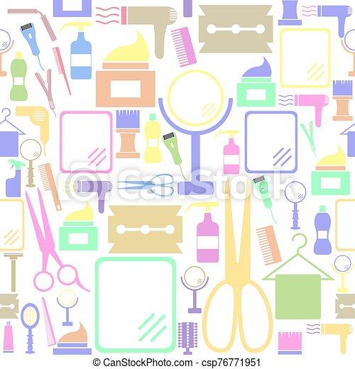 icon., bakgrund, seamless, salon, mönster - csp76771951