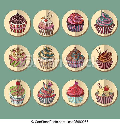 icon., barwny, cupcake - csp25980266