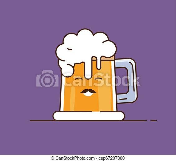 Icon beer. Vector illustration. Flat illustration in cartoon style. - csp67207300