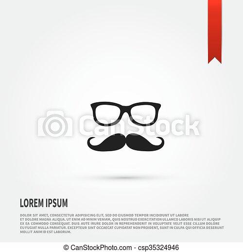 Icon., bigote, anteojos. Plano, padres, símbolo., anteojos, día ...