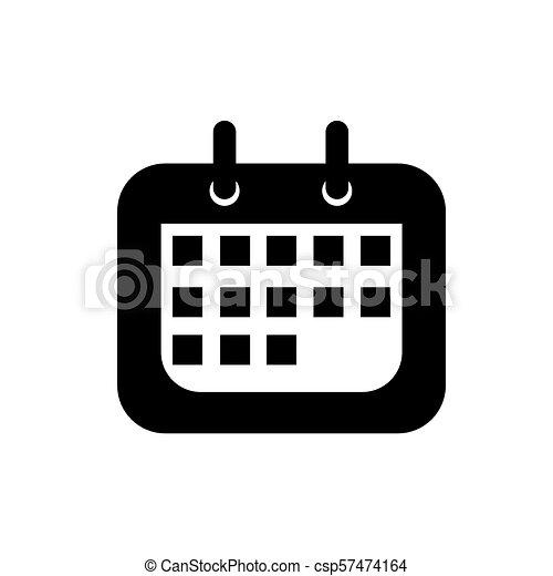 Calendario Vector Blanco.Icon Black Calendar On White Background Vector Illustration