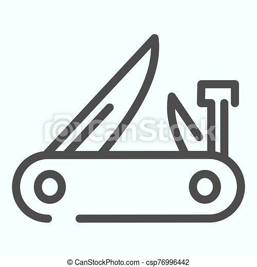 icon., bolso, suíço, isolado, white., teia, esboço, projetado, 10., multifunctional, exército, eps, vetorial, faca, ilustração, desenho, app., estilo, linha - csp76996442