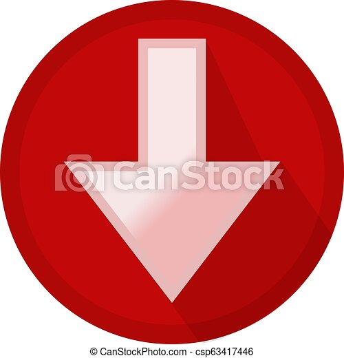 Icon button white arrow down in a red circle - csp63417446