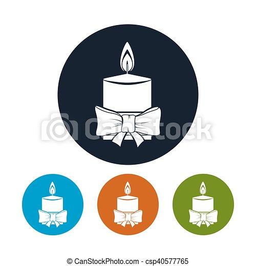Icon Christmas Festive Candle - csp40577765