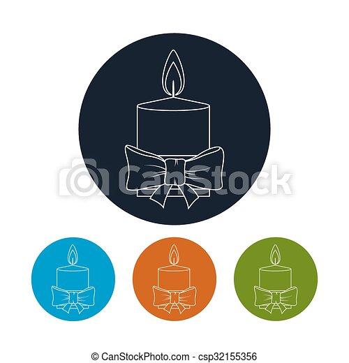 Icon Christmas Festive Candle - csp32155356