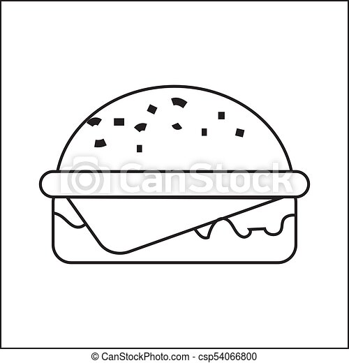 icon depicting a hamburger a simple drawing without pouring vector
