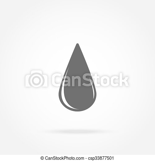 Icon drop of oil on a white background with shadow - csp33877501