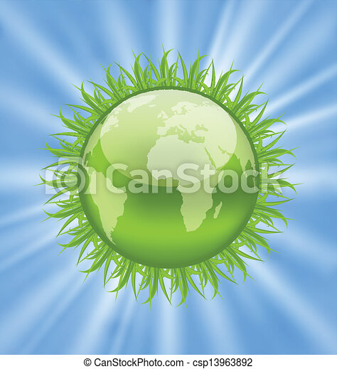 Icon earth with grass, environment symbol - csp13963892