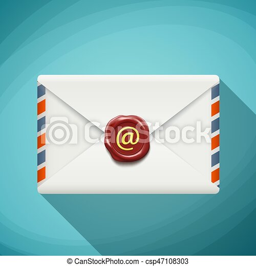Icon envelope with wax seal. Sign email. Flat design. Stock vect - csp47108303
