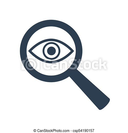Icon eye with a magnifying glass on white background. - csp54190157
