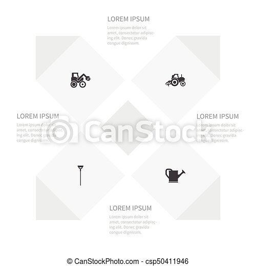 Icon Farm Set Of Combine Harvester Bailer Shovel And Other Vector