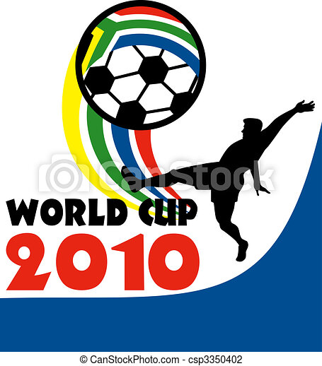 icon for 2010 soccer world cup with player kicking ball with flag of republic of south africa - csp3350402