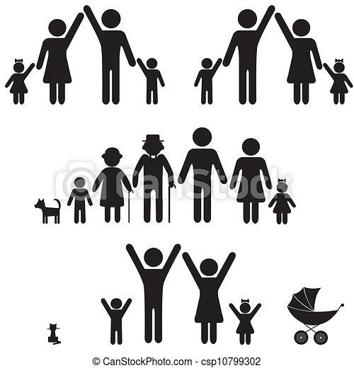 La gente silueta el icono de la familia. - csp10799302