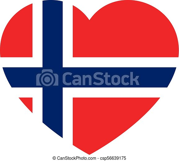 Icon heart symbol of love on the background national flag state Norway. Vector illustration. - csp56639175
