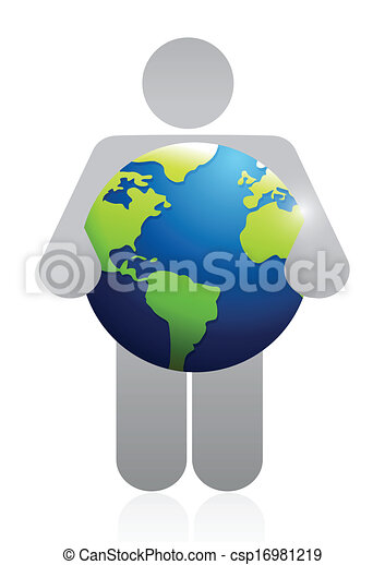 icon holding a globe. illustration design - csp16981219