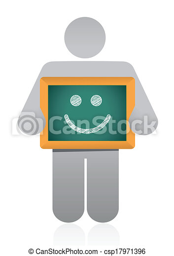 icon holding a happy face illustration design - csp17971396