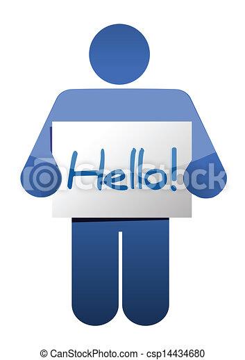 icon holding a hello sign illustration design - csp14434680