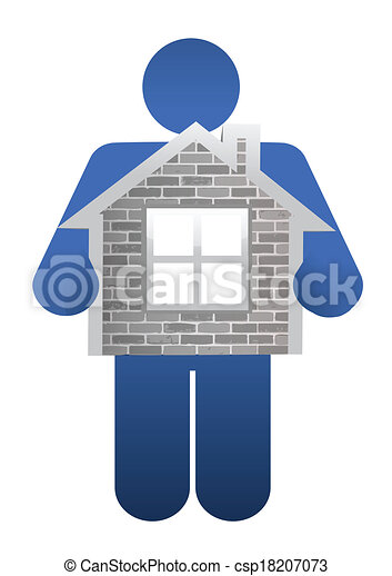 icon holding a home. illustration design - csp18207073