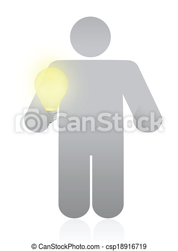 icon holding a light bulb. illustration design - csp18916719