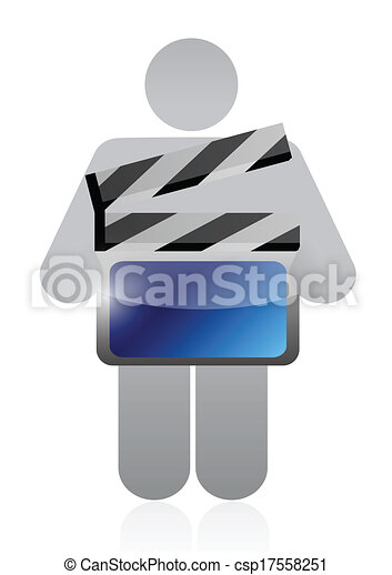 icon holding a movie clapper illustration design - csp17558251