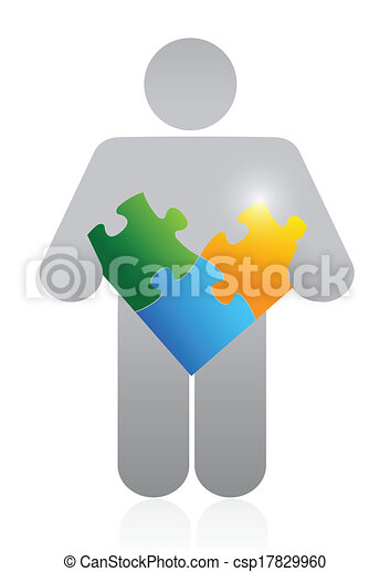 icon holding a puzzle. illustration design - csp17829960