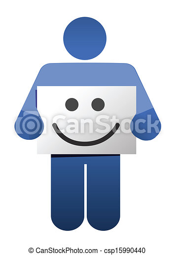 icon holding a smile face sign. illustration - csp15990440