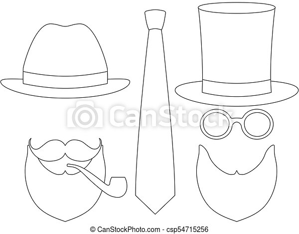 566389f3 Icon Line Art Poster Man Father Dad Day Avatar Elements Set Tall Hat  Glasess Mustache Smoking Pipe