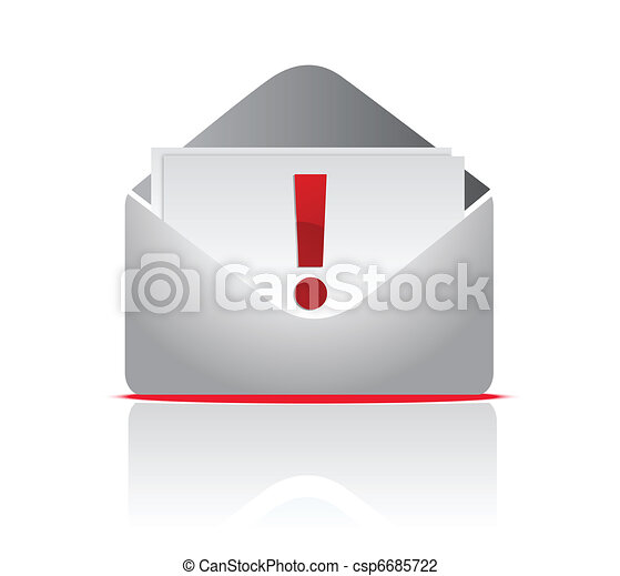 icon mail envelope with exclamation - csp6685722