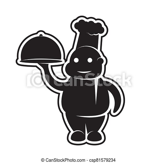 icon of a chef with a dish in his hands on a white isolated background. Vector image - csp81579234