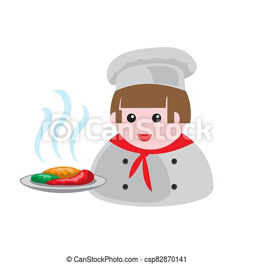 icon of a cook with a dish of food on a white isolated background. Vector image - csp82870141