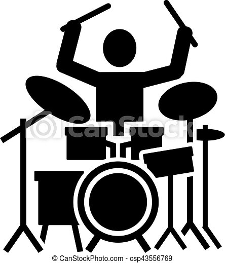 icon of a drummer with drum kit clip art vector search drawings rh canstockphoto com clipart drum set drum clipart silhouette