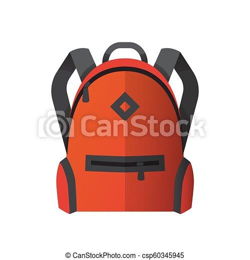 Icon of bright orange school bag. Backpack icon - csp60345945