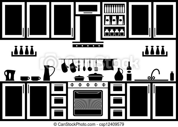 Icon Of Kitchen Image Kitchen In Black And White On A