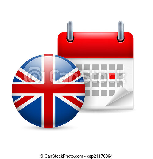 icon of national day in great britain calendar and round british