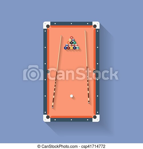 Icon Of Poll Or Billiard Table With Cues And Balls. Flat Style   Csp41714772